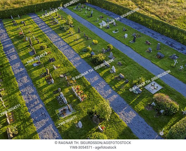 Top view of the Graveyard at Lagafellskirkja Church, Mosfellsbaer, Iceland
