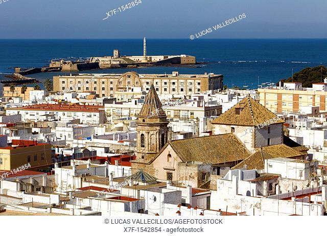 Skyline Panoramic of cadiz The church of San Lorenzo  In background San Sebastian's castle Cádiz, Andalusia, Spain