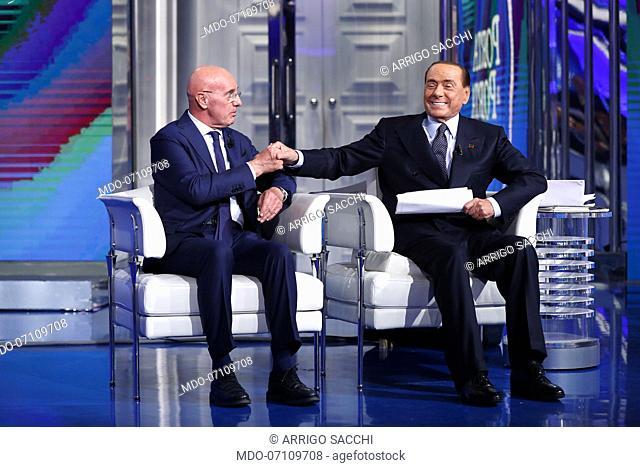 Italian politician Silvio Berlusconi and italian football coach, sports manager and columnist Arrigo Sacchi during the TV show Porta a Porta