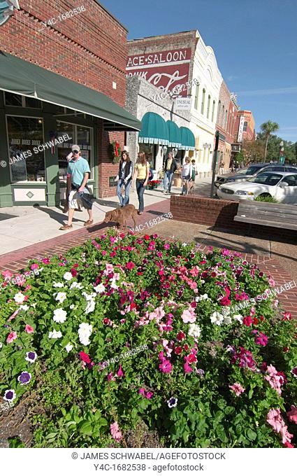 Tourists on Centre Street in historic district of Fernandina Beach on Amelia Island in Florida  Listed on the National Register of Historic Places