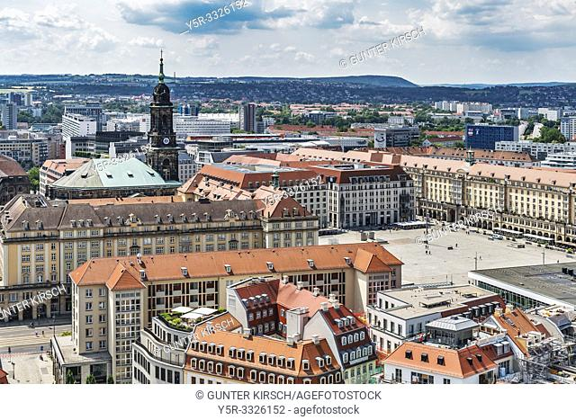 View over the Neumarkt to Altmarkt Dresden. There is the tower of the Kreuzkirche (Church of the Holy Cross), Dresden, Saxony, Germany, Europe