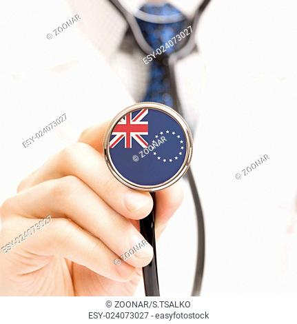 National flag on stethoscope conceptual series - Cook Islands