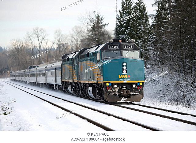 VIA Rail Canadian train number 1 through Burnaby, British Columbia, Canada