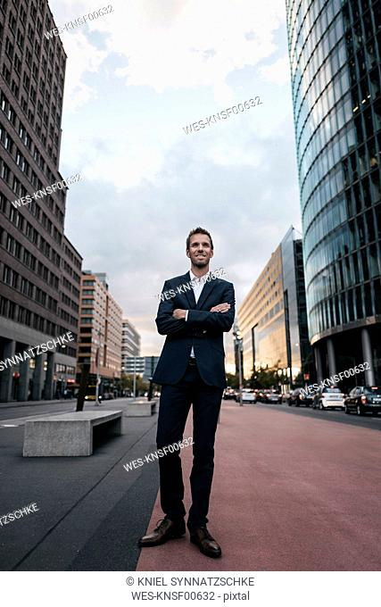 Germany, Berlin, businessman in the evening