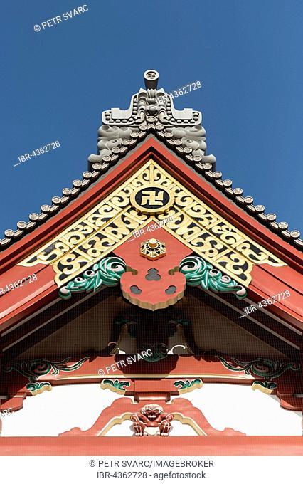 Gable and roof detail at the Senso-ji Temple, Asakusa, Tokyo, Japan