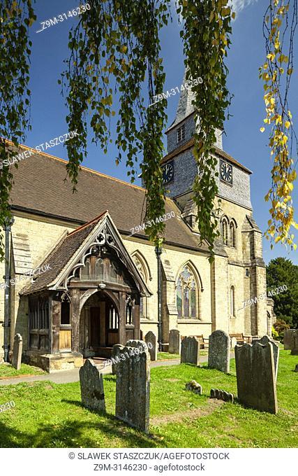 St Nicholas church in Godstone, Surrey, England