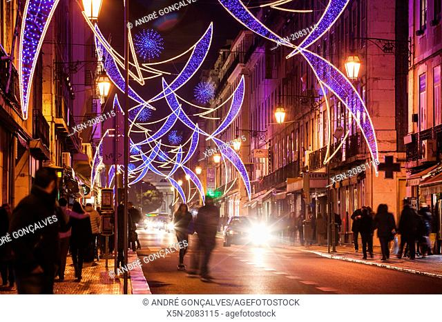 Christmas Lights in the Rua Aurea, Lisbon, Portugal, Europe
