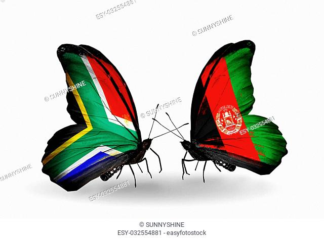 Two butterflies with flags on wings as symbol of relations South Africa and Afghanistan