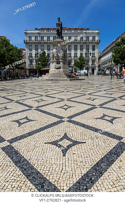 The historical Praça Luís de Camões with decorated tiles and the statue between Chiado and Bairro Alto Lisbon Portugal Europe
