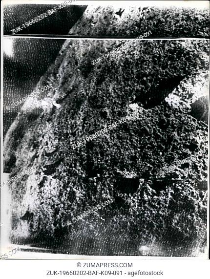 Feb. 02, 1966 - First pictures taken on the moon by Russian Spacecraft Luna 9: The first pictures taken by Luna 9, on the Ocean of Storms via Jodress Bank Radio...