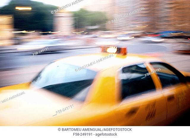 Taxi in motion. New York City. USA