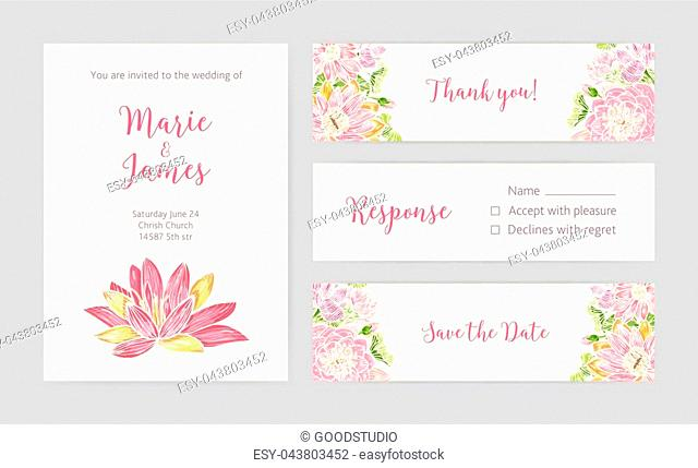Set of wedding party invitation, Save the Date card, Response and Thank You note templates with blooming lotus flowers hand drawn on light background and place...