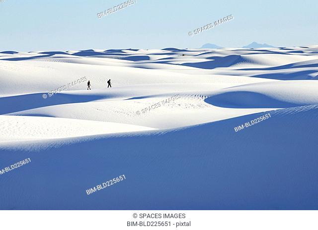 Distant people walking on snowy landscape