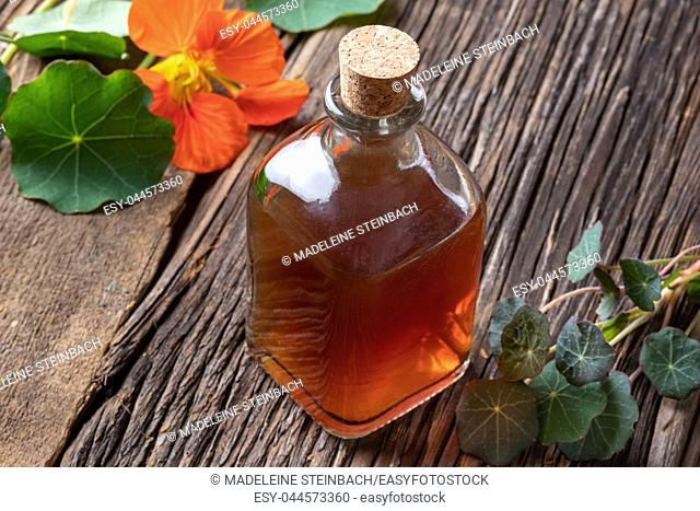 A bottle of nasturtium tincture with fresh Tropaeolum majus leaves and flowers