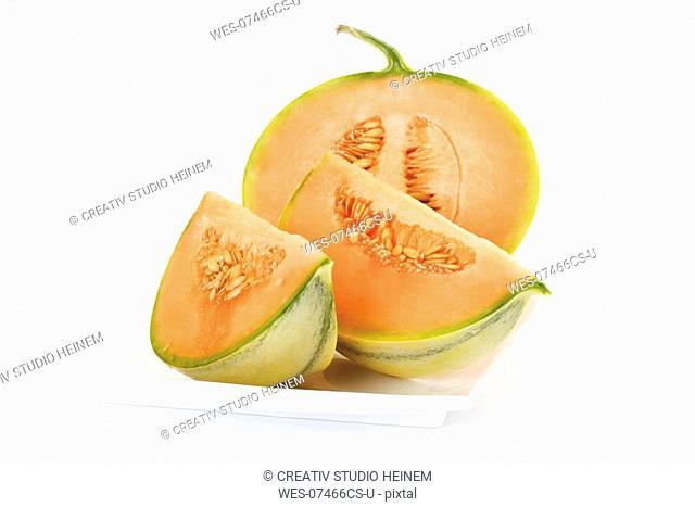 Slices of Cavaillon melon, close-up