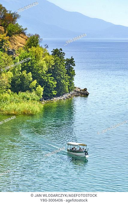 Tourist boat on the Ohrid Lake, Republic of Macedonia, Balkans