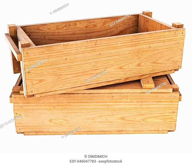 open wooden box isolated on white background. 3D illustration