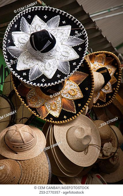 Traditional Mexican hats called sombreros for sale at the shop in the historic center, Oaxaca, Oaxaca State, Mexico, Central America