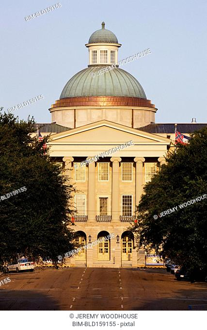 Facade of Mississippi State Capitol and street, Jackson, Mississippi, United States