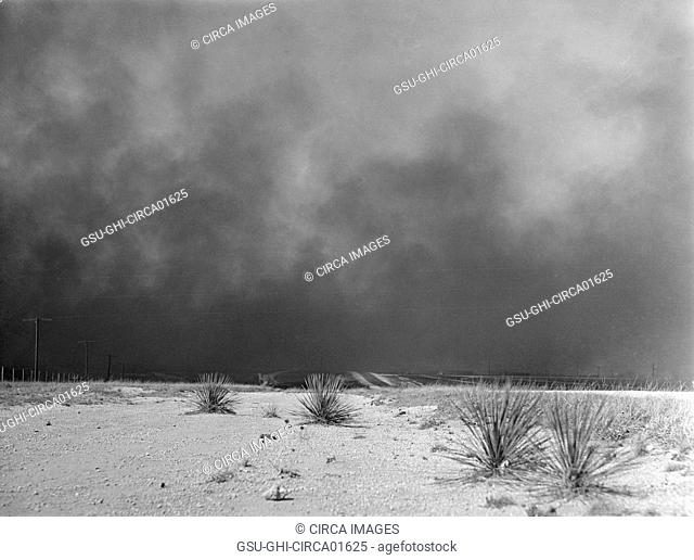 Heavy Black Clouds of Dust Rising over Texas Panhandle, Texas, USA, Arthur Rothstein for Farm Security Administration, March, 1936