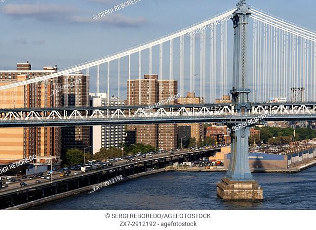 Manhattan Bridge landscape over East River, New York, USA
