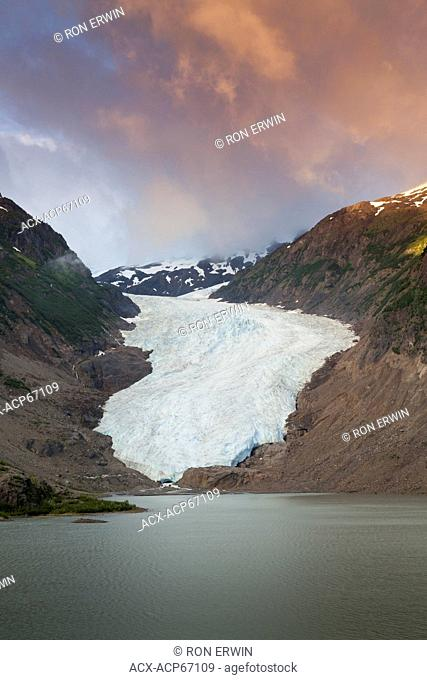 The Bear Glacier and Strohn Lake in Bear Glacier Provincial Park, as seen from the Stewart Highway (37A), British Columbia, Canada