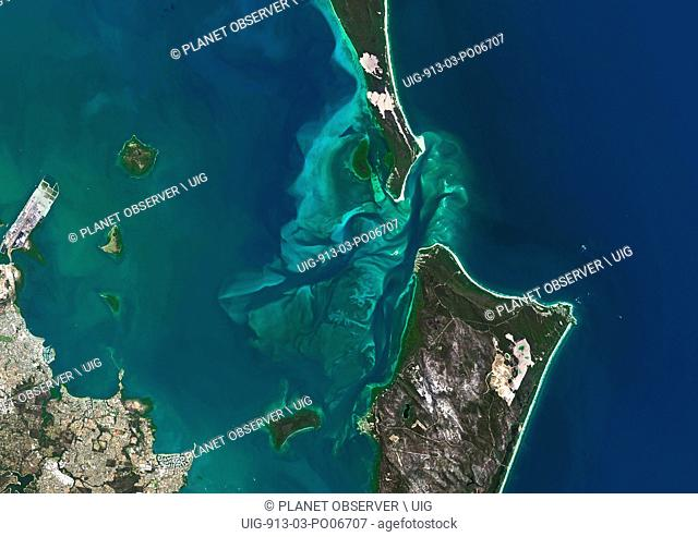 Satellite view of Moreton Bay, Queensland, Australia. This image was compiled from data acquired in 2014 by Landsat 8 satellite