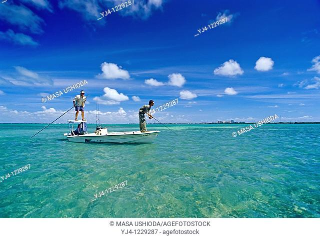 flats fishing for bonefish, Albula vulpes, Stiltsville, Biscayne National Park, Florida, USA, Atlantic Ocean