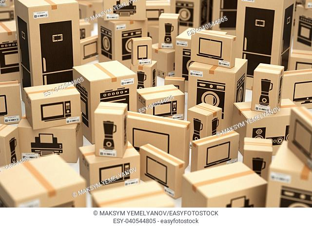 E-commerce, internet online shopping and delivery concept. Household kitchen appliances and home technics in boxes. 3d illustration