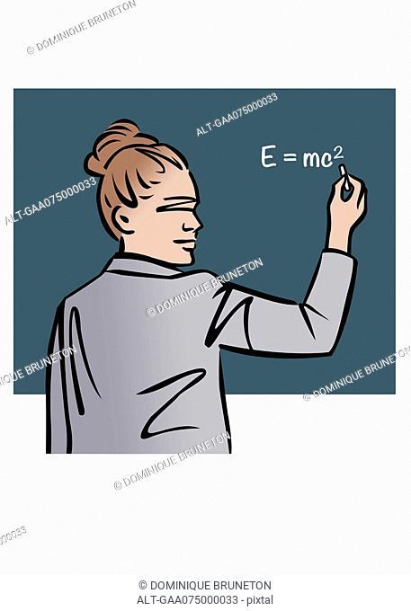 Illustration of female professor writing equation on chalkboard