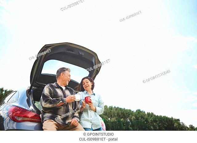Mature couple standing beside car, holding tin cups, smiling, low angle view