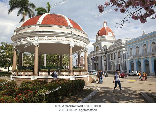 View to the pavilion and the Goverment House-Palacio del Gobierno in Parque Jose Marti, Cienfuegos, Cuba, West Indies, Central America