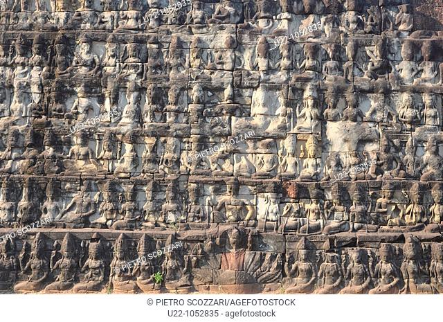 Angkor (Cambodia): reliefs on the Terrace of the Leper King