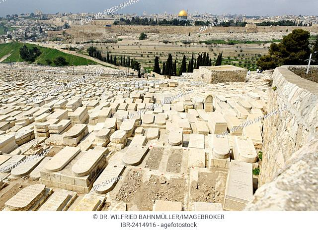 View from the Mount of Olives over the tombs of the Jewish cemetery, Jerusalem, Israel, Middle East, Asia