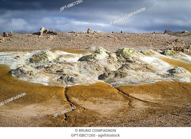 GEOTHERMAL ZONE OF NAMAFJALL, VOLCANIC BULGE NEAR LAKE MYVATN, IN THE VOLCANIC SYSTEM OF KRAFLA, A VAST AND SANDY ZONE COLOURED BY SULFUR AND DEPOSITS OF...