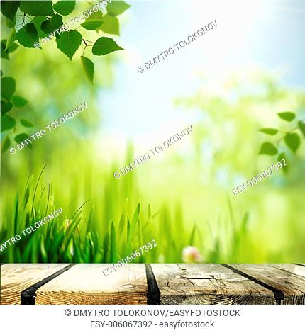 Abstract natural backgrounds with wooden desk
