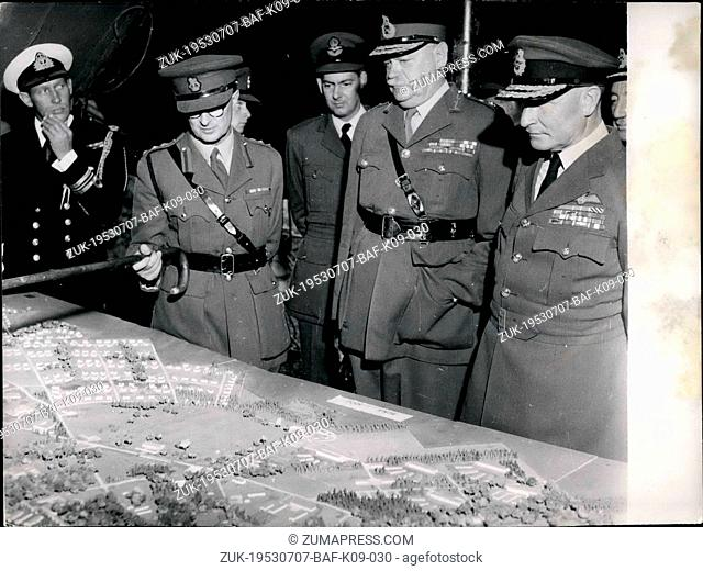 Jul. 07, 1953 - New British headquarters in Muenchen - Gladbach Rhineland , Western Germany.: On Wednesday , 1 Jul 1953 the laying of the foundation - stone of...