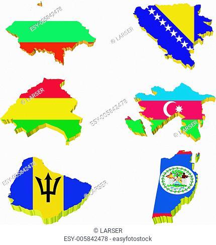 Collection volume vector maps of Bulgaria, Bosnia and Herzegovi