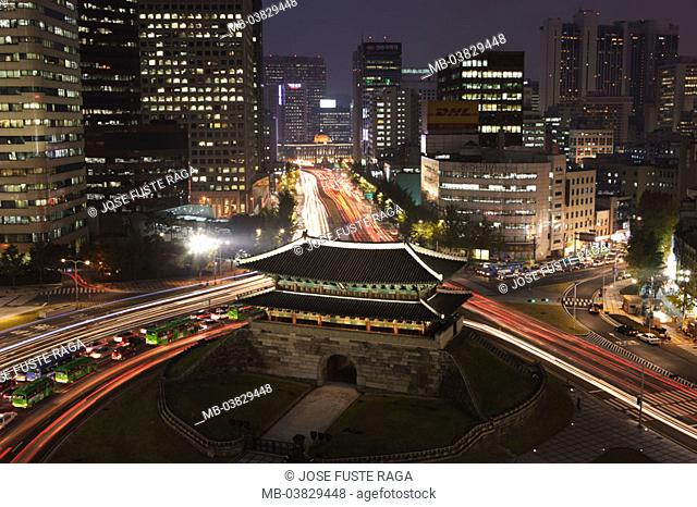 Korea, Seoul, view at the city,  skyscrapers, Namdaemun gate,  Illumination, street, traffic, evening,  Asia, Eastern Asia, South Korea, city, capital, city