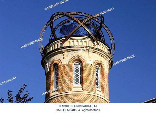 France, Somme, Amiens, tower of Jules Verne's house covered with an armillary sphere