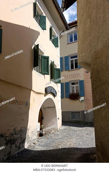 Typical houses with Hotel Meisser, Guarda, Scuol, Lower Engadine, Grisons, Switzerland