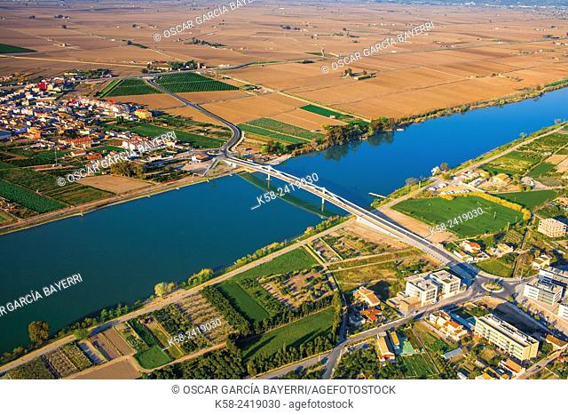 Aerial view of the Ebro River Delta, Sant Jaume d'Enveja, Tarragona Province, Catalonia, Spain