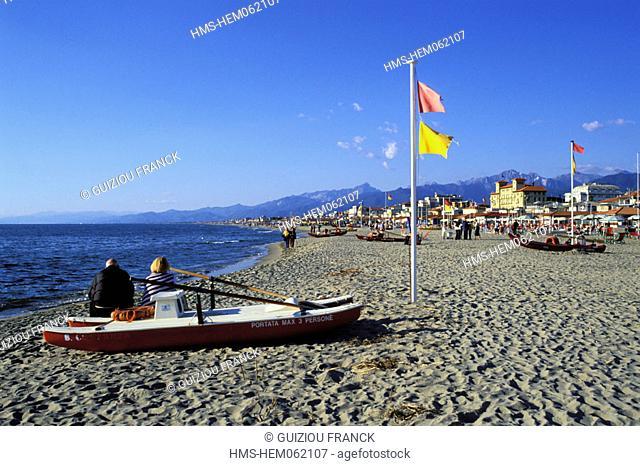 Italy, Tuscany, the Versilia, the beach of Viareggio