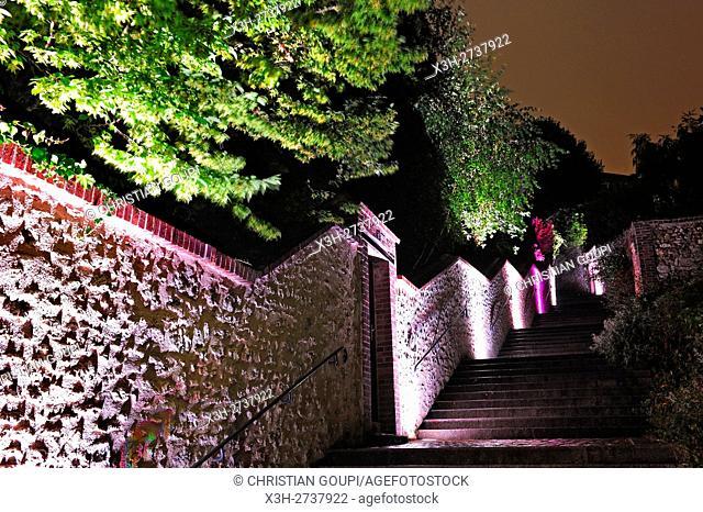illumination of the 'Tertre Saint-Nicolas' stairway, Chartres, Eure-et-Loir department, Centre -Val de Loire region, France, Europe