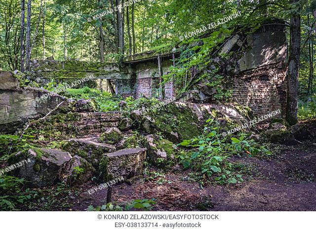 Collapsed building in Wolf's Lair - the headquarters of Adolf Hitler and the Nazi Supreme Command of Armed Forces in WW2 near Gierloz village, Poland