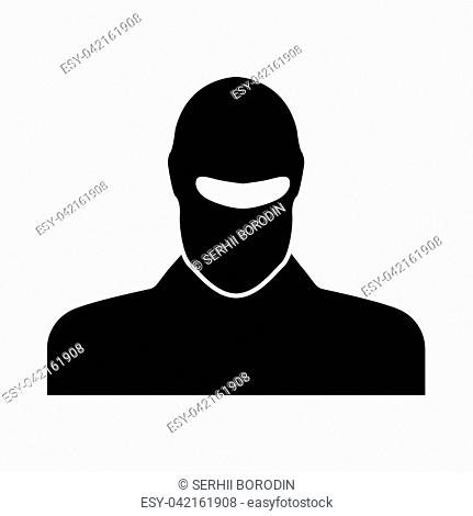Man in balaclava it is black icon . Flat style