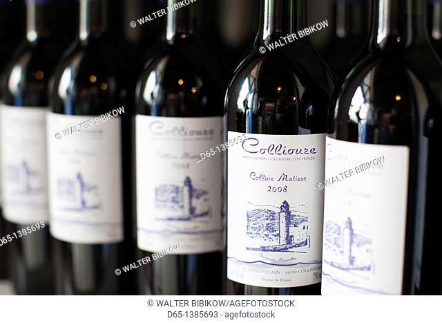 France, Languedoc-Roussillon, Pyrennes-Orientales Department, Vermillion Coast Area, Collioure, local wine bottles
