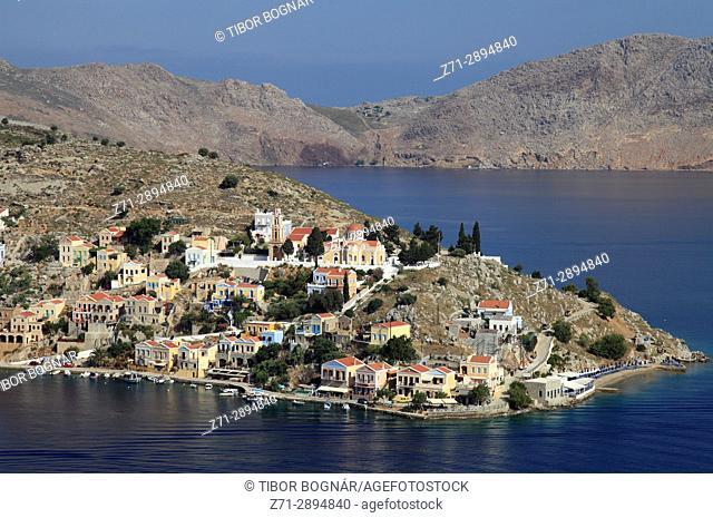 Greece, Dodecanese, Symi, Gialos, aerial view,