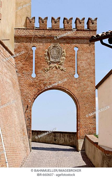 Barolo province Cuneo Piemonte Piedmont Italy south of Alba well known wine village castle