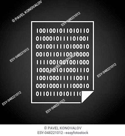 Sheet With Binary Code Icon. White on Black Background Design. Vector Illustration
